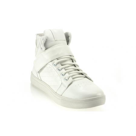 Pánské kotníkové kožené boty (tenisky) GOV DENIM 008-2W bílé