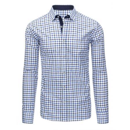 Bílá pánská košile mřížkovaný vzor s dlouhým rukávem slim fit bc6c5d9262
