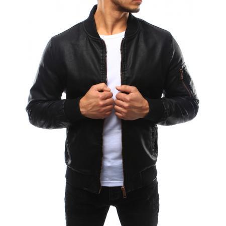 Pánská bunda bomber kožená černá