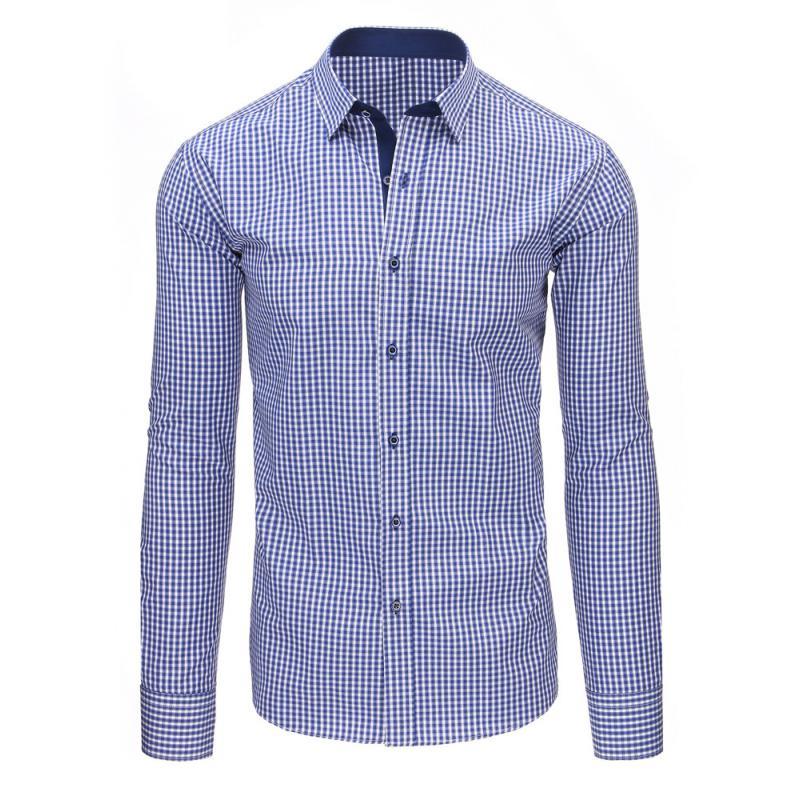 f1acfadca83 Modrá pánská moderní košile čtverečkovaná s dlouhým rukávem ...