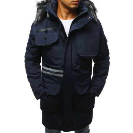 Pánská zimní parka bunda modrá
