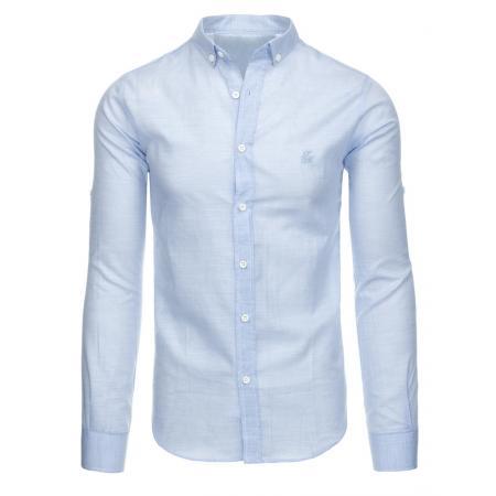Modrá pánská košile pruhované s dlouhým rukávem