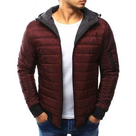 Pánská bunda prošívaná s kapucí tmavě červená