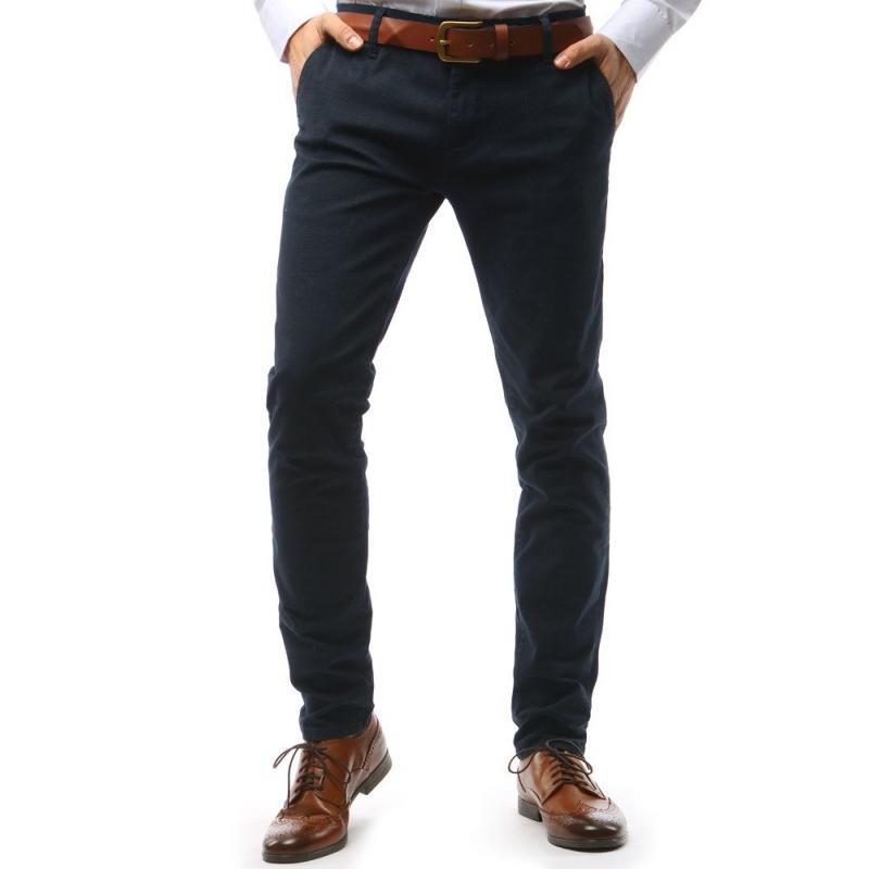 Pánské STYLE kalhoty tmavě modré kostkované  cdb1b441e0