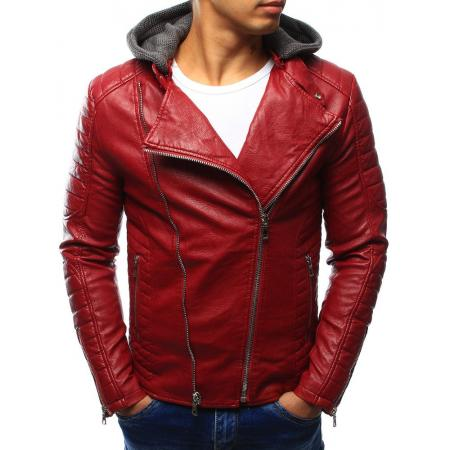 Pánská kožená bunda červená