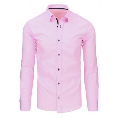 Růžová pánská košile s dlouhým rukávem