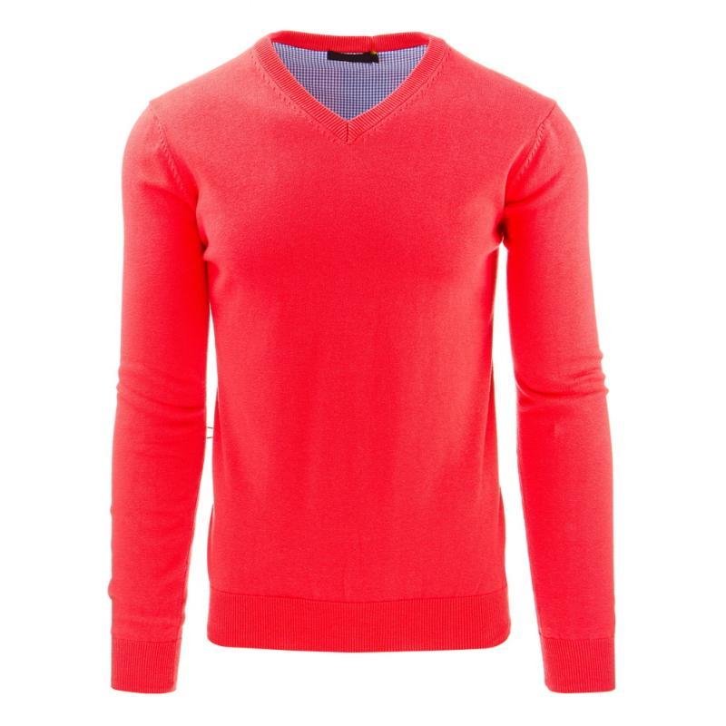 Módní pánský svetr do v růžový  ce4bab3170