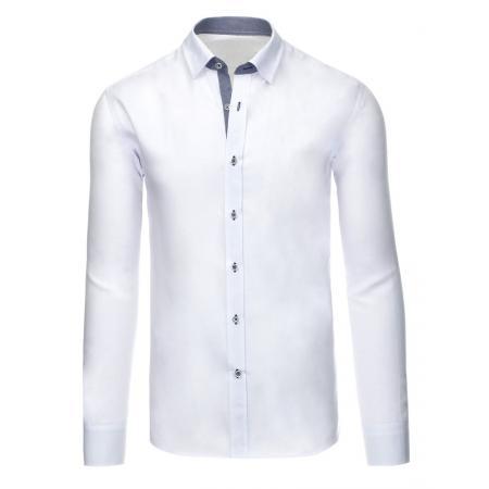 Bílá pánská košile s dlouhým rukávem slim fit