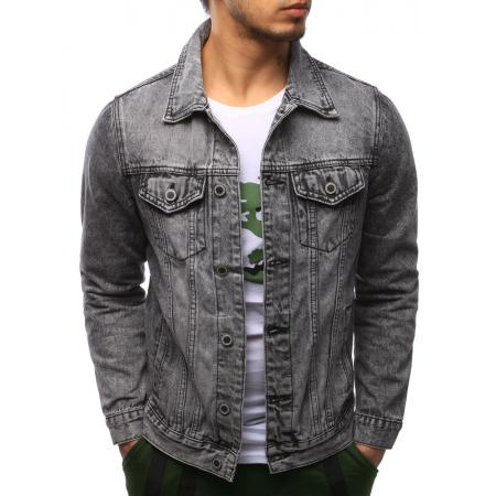 Pánská moderní bunda jeansová šedá