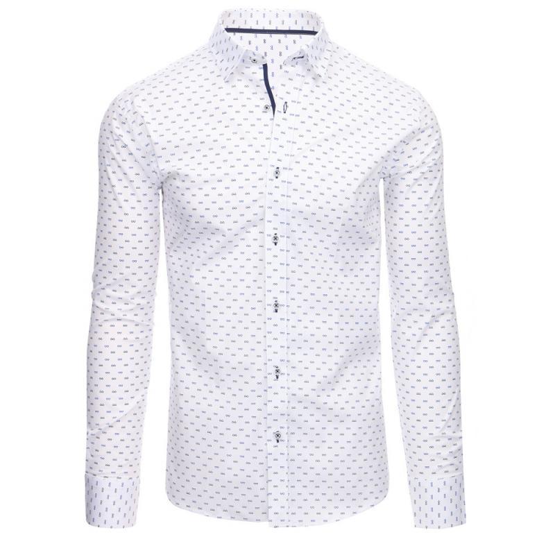 497c81d83c4 Bílá pánská moderní košile vzorovaná s dlouhým rukávem