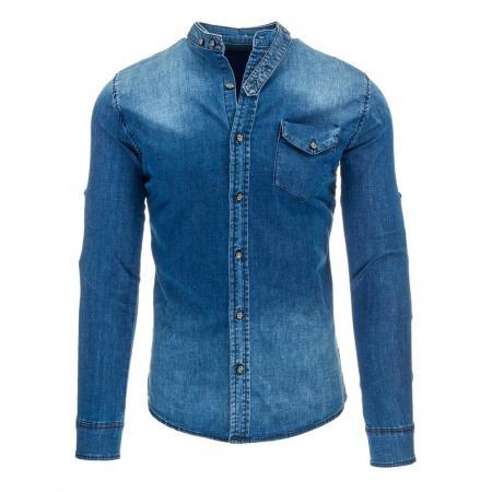 Pánská stylová košile jeansová s náprsní kapsou