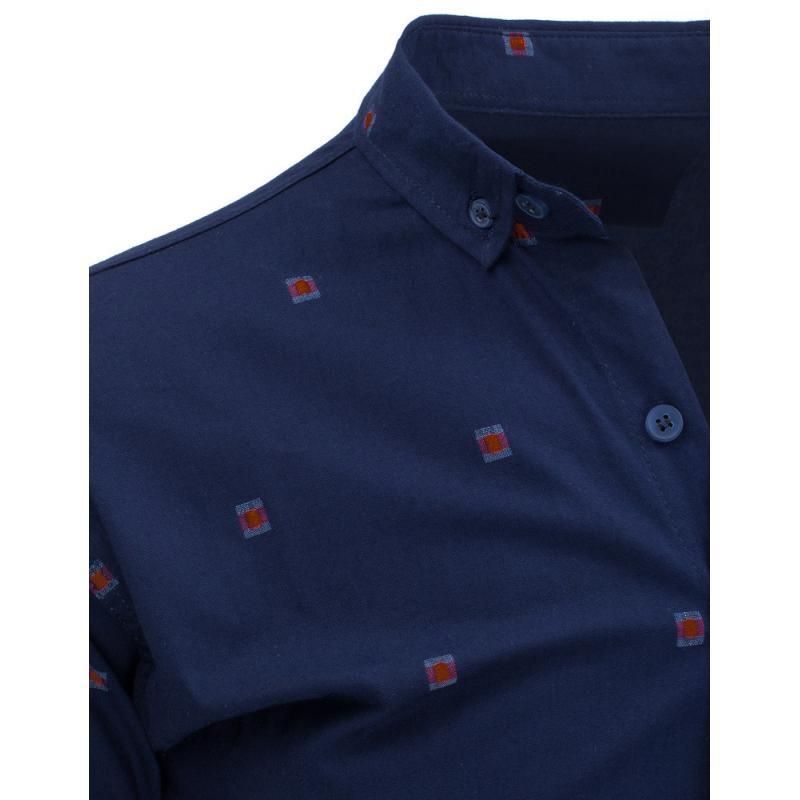 f1933065f35 Tmavě modrá pánská košile se vzory s dlouhým rukávem