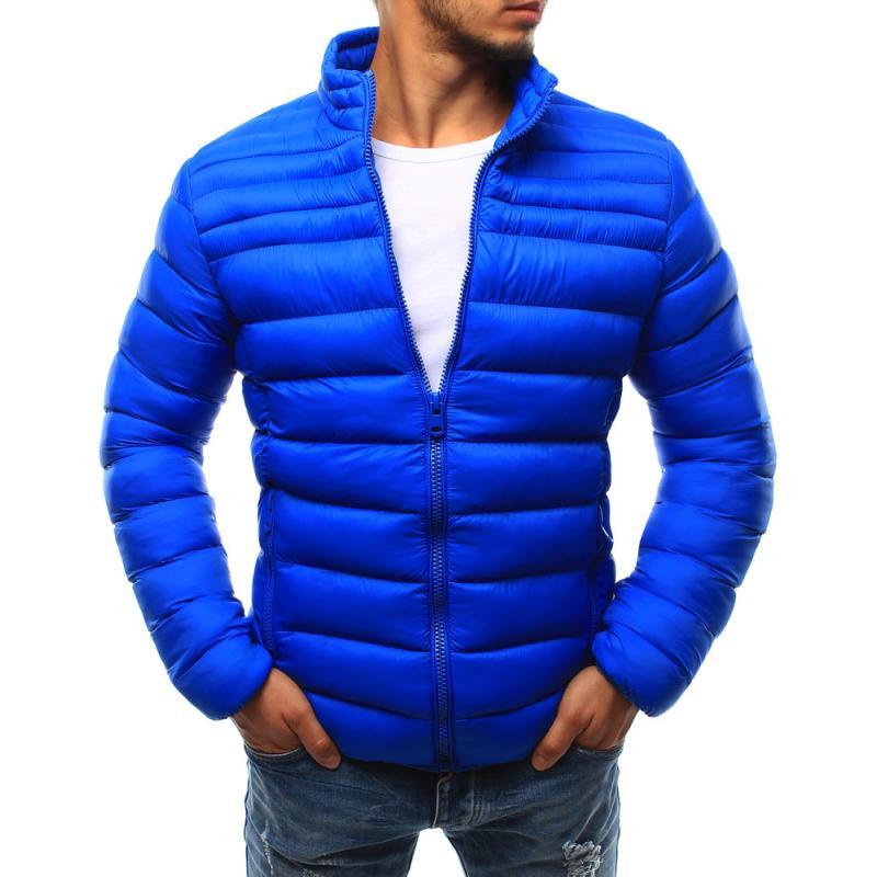 97a4930d1364 Pánská bunda prošívaná bez kapuce světle modrá