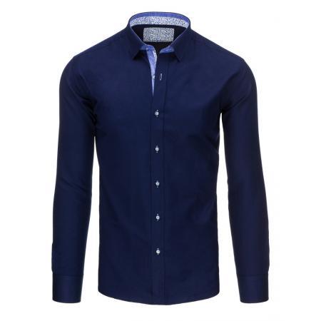 Tmavě modrá pánská košile s dlouhým rukávem slim fit