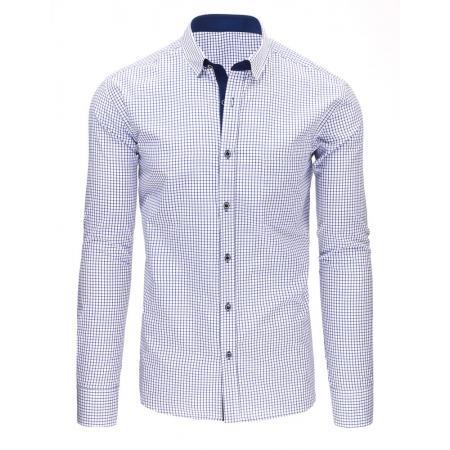 Modro-bílá pánská moderní košile čtverečkovaná s dlouhým rukávem 65ba00c987