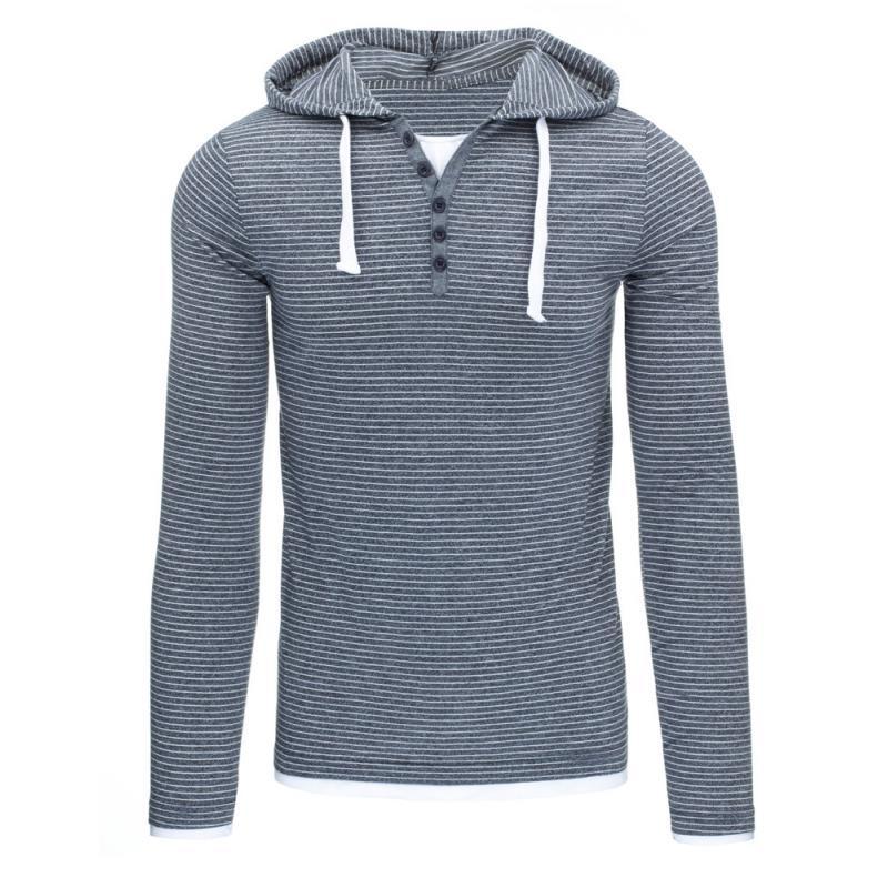 Pánské pruhované tričko s dlouhým rukávem modré  259b2944a9