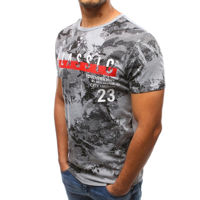 Pánské šedé tričko s potiskem STYLE  33bf34eb16
