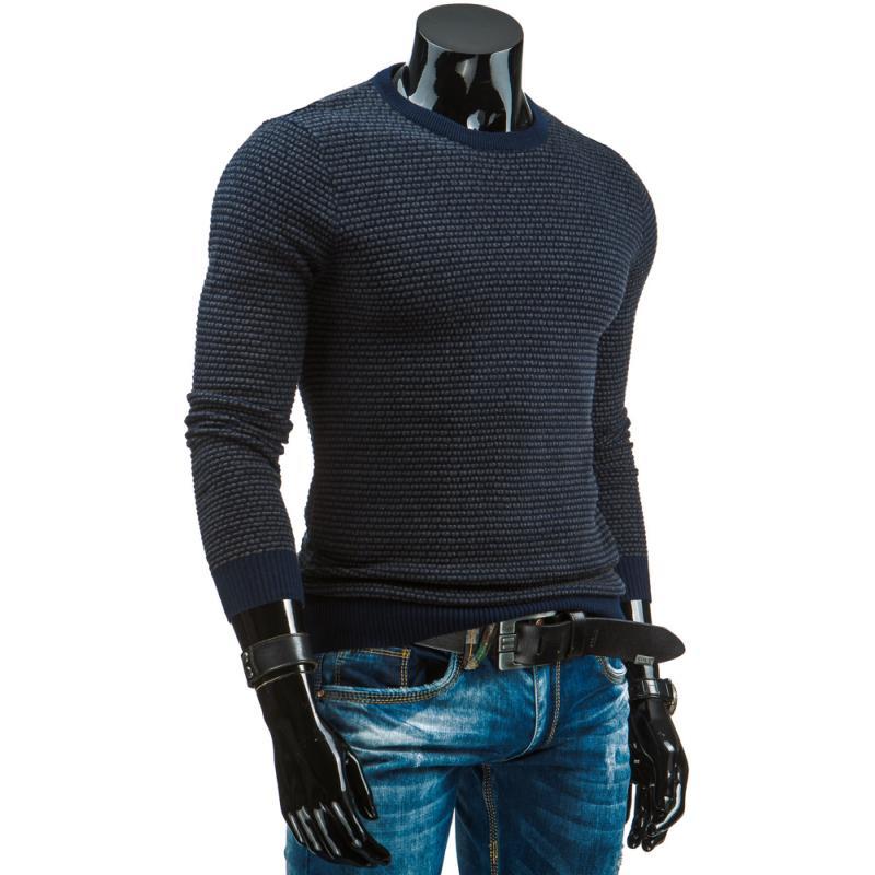 c265c628041 Módní bavlněný pánský svetr modrý