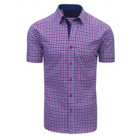 Růžovo-fialová pánská moderní košile čtverečkovaná