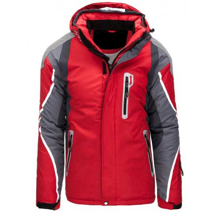 Pánská bunda zimní lyžařská s kapucí červená