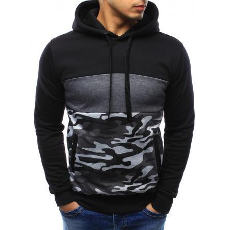 Pánská stylová mikina s kapucí černá