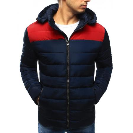 Pánská bunda zimní prošívaná tmavě modrá