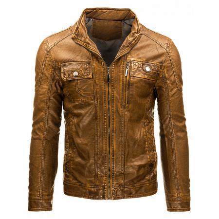 Pánská stylová bunda z eko kůže na zip hnědá