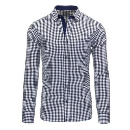 Modrá pánská košile kostkovaná bílá s dlouhým rukávemslim fit