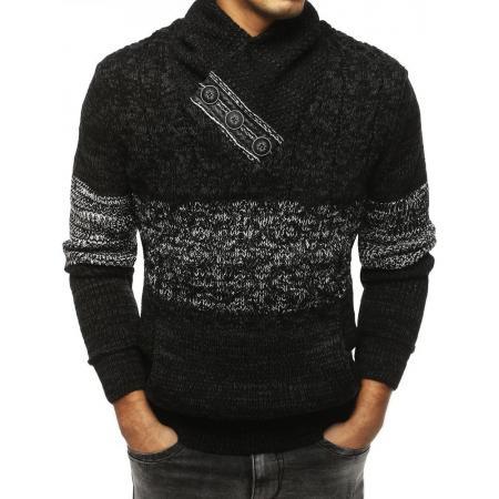 Pánský MODERN svetr se stojatým límcemčerný