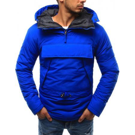 Pánská bunda větrovka s kapucí světle modrá