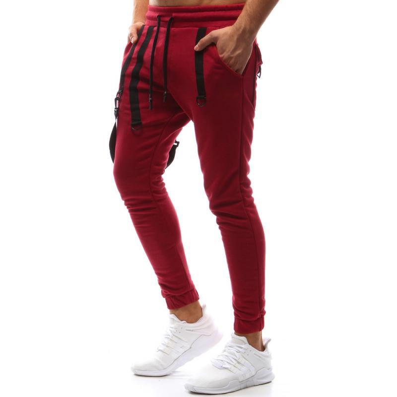 Pánské kalhoty joggery tepláky červené  abcf256eda2