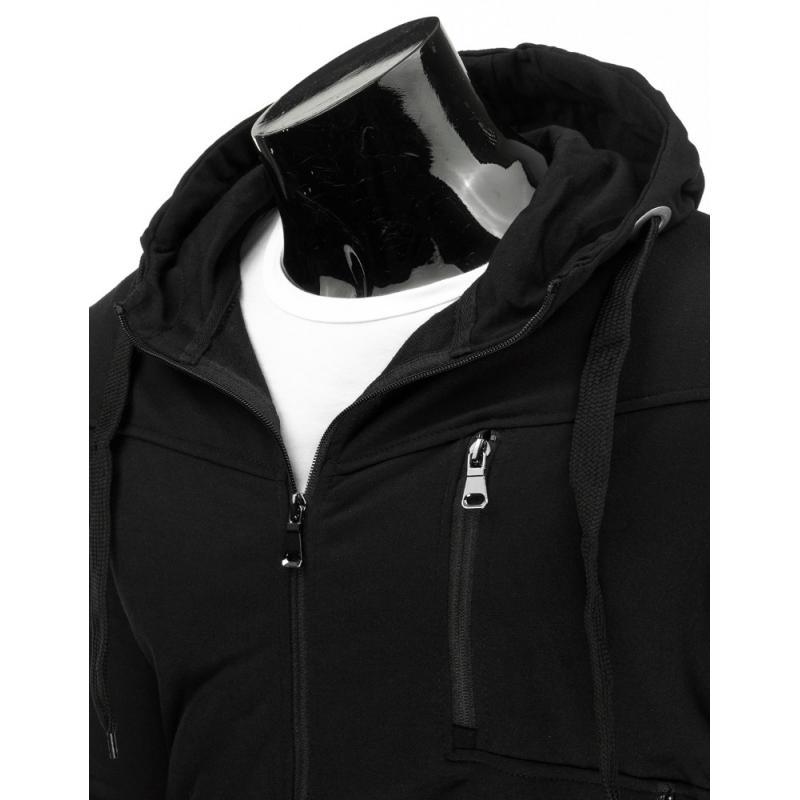 Pánská moderní mikina s kapucí se zipem černá  7e0b4ffb4d