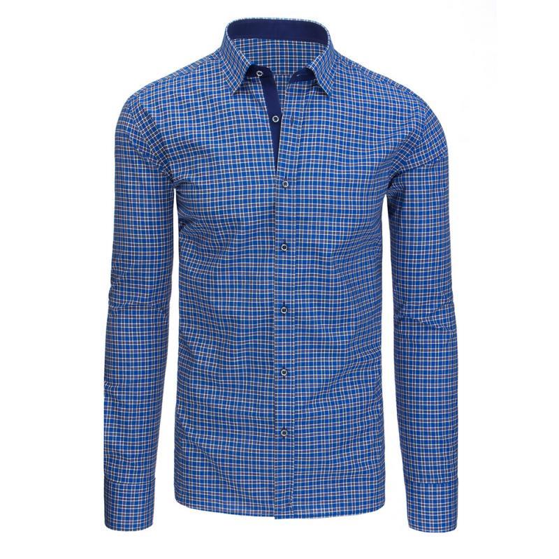 e725ad0c343 Tmavě modrá kostkovaná pánská košile s dlouhým rukávem