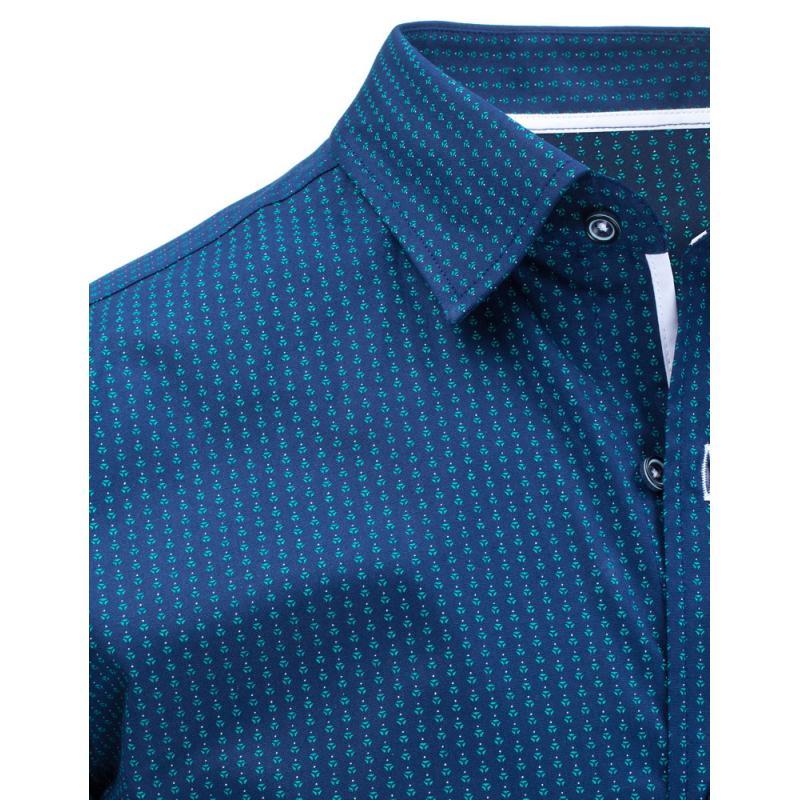Pánská košile elegantní se vzory s krátkým rukávem tmavě modrá ... 43a00b18a4