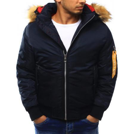 Pánská bunda zimní s kapucí tmavě modrá
