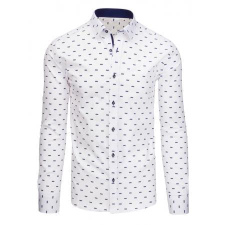 Bílá pánská košile vzorovaná s dlouhým rukávem