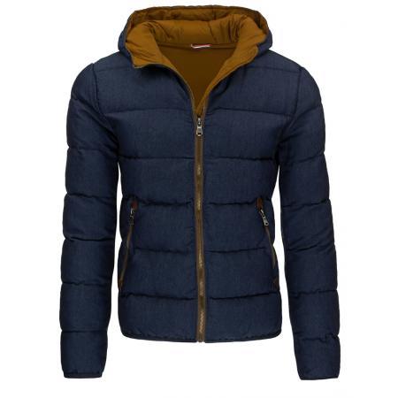 Pánská moderní zimní prošívaná bunda modrá