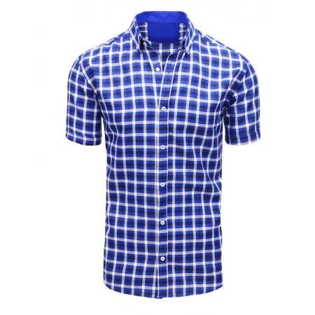 f80cf975bc68 Modrá pánská košile kostkovaná s krátkým rukávem