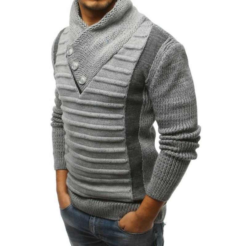 Pánský svetr šedý s knoflíky a zipem STYLE  572db87060